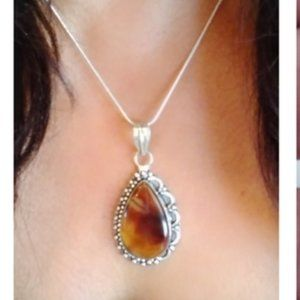 Vintage Montana Agate 925 Pendant With Chain